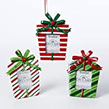 Red and White and Green Present Box Picture Frame Ornaments - 3 Assorted