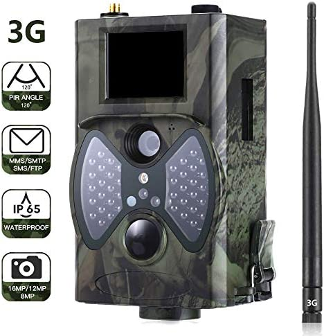 CAMVILD 3G Cellular Trail Camera Fast Photo Transmission 16MP 1080P Full HD with Night Vision 2.0 LCD Motion Waterproof IP65 Wildlife Camera Game Camera for Outdoor Wildlife Watching Home Security