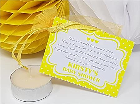 b6a021b72ff Treasured Forever Personalised Baby Shower Favour - Thank You Gift - Candle Tea  Light - Heart Style