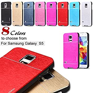 S5 Aluminum Deluxe Gold Metal Brush Back Case for Samsung Galaxy S5 I9600 Cell Phone Cover Hard Soft TPU Insert Phone Skin --- Color:Navy Blue