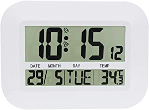 JIMEI Digital Wall Clock Battery Operated Simple Large LCD Alarm Clock Temperature Calendar Date Day for Home Office H149