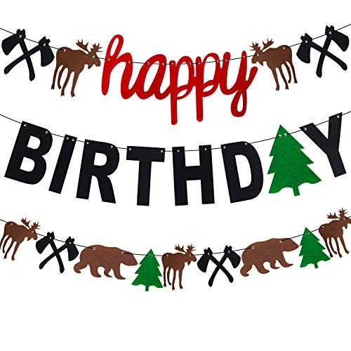 Lumberjack Party Banner Woodland Animal Hunter Camping Themed Garland for Happy Birthday Party Decorations