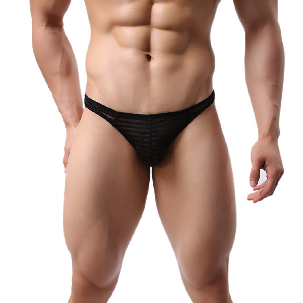 NUWFOR Mens 3.2cm Strap Waistband Athletic Supporter T-Back Thong Underwear(XL Waist:34''-36'',Black) by NUWFOR (Image #2)