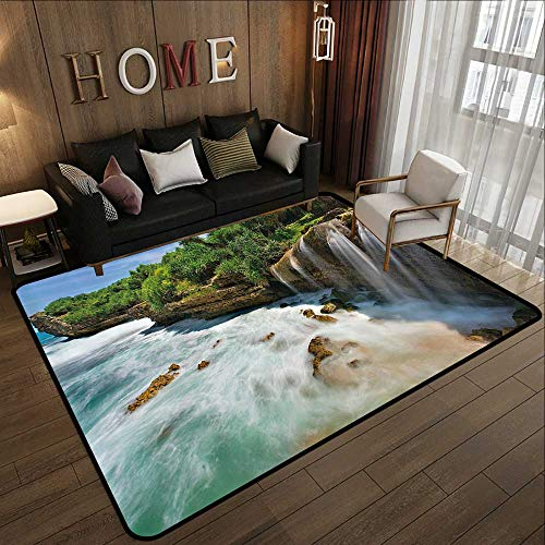 Throw Rugs,Nature,Jogan Beach Waterfall View in Java Indonesia Tropical Seashore Scenery,Green White and Brown 55