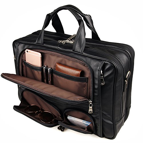 Augus Business Travel Briefcase Genuine Leather Duffel Bags for Men Laptop Bag fits 15.6 inches Laptop ()