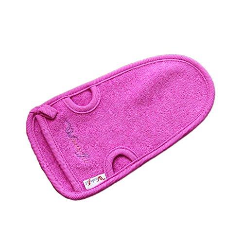 [Set of 2]WONDERFUL Durable Soft Rub-free Hanging Bath Mitt/Glove,Plain PURPLE