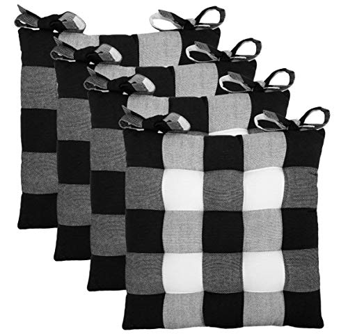 Cotton Craft - Set of 4 - Buffalo Check Chairpad -Black - 17x17 Inches- Dining Chair Pad Cushion with Ties- Classic Design- Easy Fit to Chair (Best Fabric For Kitchen Chair Cushions)