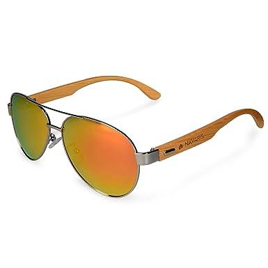 Navaris Gafas de sol polarizadas UV400 Gafas de madera de bambú - Gafas de sol unisex en diferentes colores - Color azul