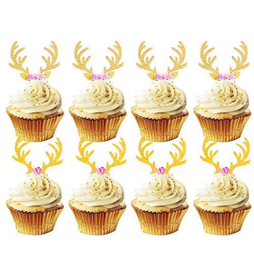 Set of 20 JeVenis Glittery Deer Antler Cupcake Toppers Christmas Cake Decoration for Deer Birthday Party Reindeer Theme Party Rustic Party Decoration Baby Shower