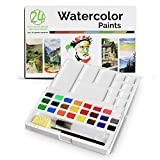 Pablo's Choice 24 Watercolor Paint Set - Water Color Sketch Set with Lightweight Case, Sponge, and Perfectly Shaped Mixing Palette - For Craft or Hobby to Professional, Includes Brush & Pen