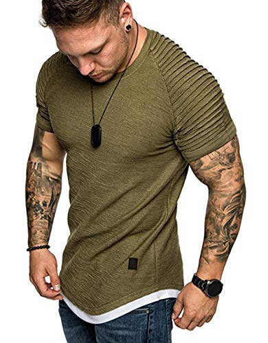 Mens Casual Short Sleeve Slim Fit T-Shirt Bodybuilding Muscle Fitness Tee Tops (US L, Pleat Army Green)]()