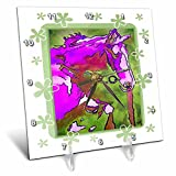 3dRose dc_24941_1 Animal Horse Pink-Desk Clock, 6 by 6-Inch