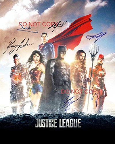 Signed 8x10 Color Movie Photo (Justice League reprint cast signed autographed 8x10 movie photo Wonder Woman Batman)