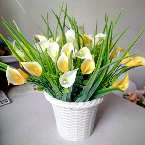 l Fake Flowers Vase Decoration, Real Looking Calla Lily Plastic Faux Floral Arrangement in White Pots Home/Office/Wedding Decor, Set of 2 ()