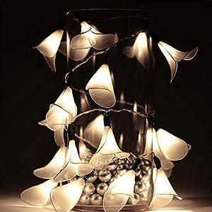 Mikash White Calla Lilies Flowers Fairy Lights 72 Reception Wedding Decoration | Model WDDNGDCRTN - 914 | 6 pcs 50