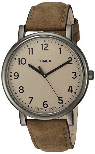 (Timex 'Originals' Quartz Brass and Leather Casual Watch, Color:Brown (Model: T2N957ZA))