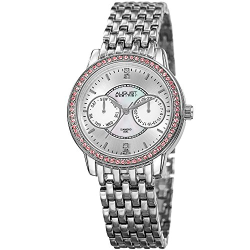 August Steiner Swarovski Crystals Women's Watch - Multifunction Subdials On mother-of-pearl Face With Stainless-Steel Strap, AS8228