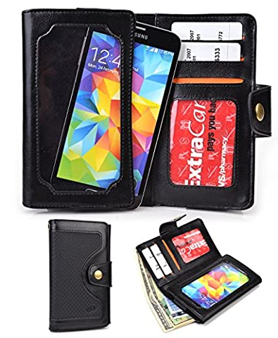 Black Universal Cell Phone Smartphone Wallet Case fits Maxwest Astro X5|NuVur (Maxwest Phone Case)