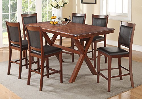 1PerfectChoice 7 pcs Modern Counter Height Dining Set X Style Base Table Espresso PU Seat Wood