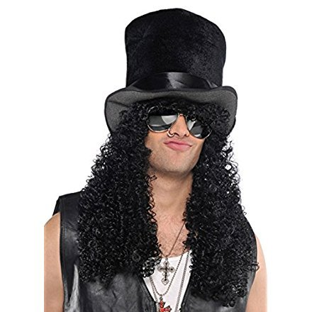 1980s Slash Style Curly Black Wig with Hat ()