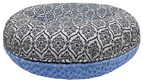 BESSIE AND BARNIE 36-Inch Bagel Bed for Pets, Medium, Blue Sky/Versailles Blue by BESSIE AND BARNIE