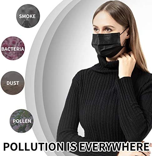 50 PCS Black Disposable Face Masks Breathable Dust Mask with Stretchable Earloops Black Face Mask for Adult, Men, Women, Outdoors