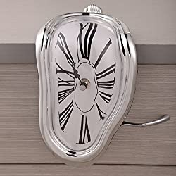 Chinatera Novelty Creative Modern Melting Clock Melted Illusion Warp Clock -Sits on Shelf to Create Illusion of a Timepiece Melting Down Home/Room Decor (Silver)