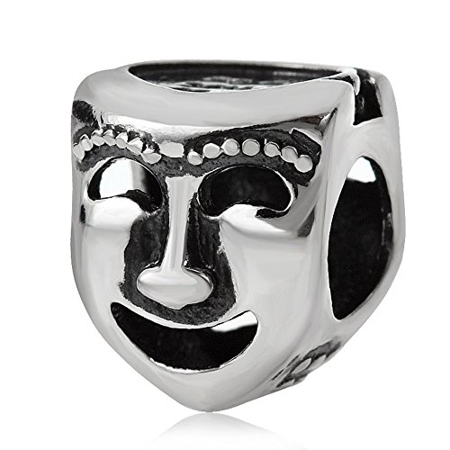 Choruslove Comedy Tragedy Theater Mask Charm 925 Sterling Silver Bead for European Bracelet Jewelry ()