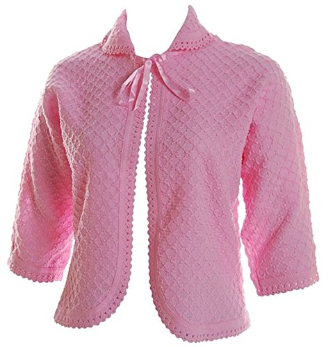 Bed Ladies Jacket (Lady Olga Women's Knitted Front Tie Bed Jacket Bolero Style W (8-10) Pink)