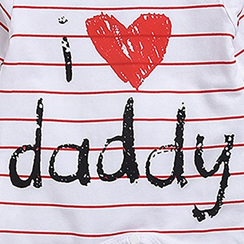 "Scfcloth Newborn Baby Boys Girls ""i Love daddy"" Long Sleeve Stripe Romper Footed Pajama Outfits"