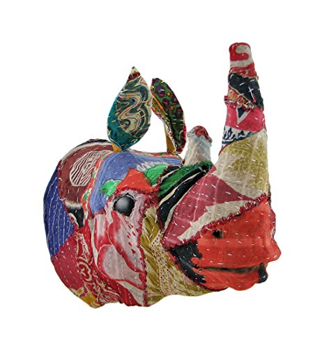 Zeckos Recycled 12 Inch Fabric Covered Rhinoceros Head Wall Mount Bust ()