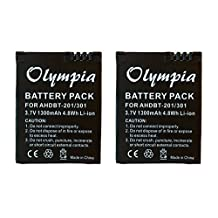 2 Pack of GoPro Hero3 Silver Edition Battery - Replacement Battery for GoPro Hero3 Silver Edition (1300mAh, 3.7V, Li-Ion)