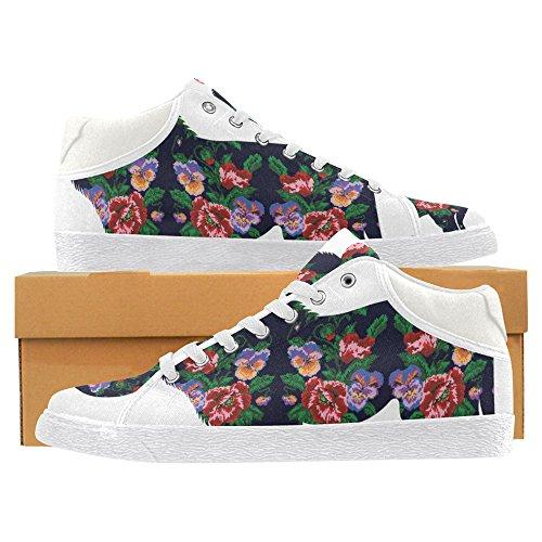 InterestPrint jeans Canvas Chukka Fashion Sneakers for Women Lion Flower 1