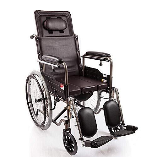 Humane Restraint - WJSWL Light Folding Wheelchair, Portable Travel Chair Full Reclining Wheelchair Aluminum Alloy Carrying Elderly Trolley Leather Fabric Wheelchair