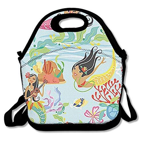Malsjk8 Hawaii Beach Towel Island Hula Mermaids Lunch Tote Bag Women Girls Kids Detachable Adjustable Shoulder Strap -