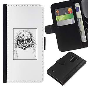 LECELL--Cuero de la tarjeta la carpeta del tirón Smartphone Slots Protección Holder For LG G3 -- Zombie Head - White Walker --
