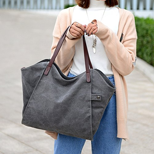 ZhmThs Canvas Shoulder Bag Casual Big Shoppingbags Tote Handbag Work Bag Travel Bags for Women Girls Ladies by ZhmThs (Image #6)