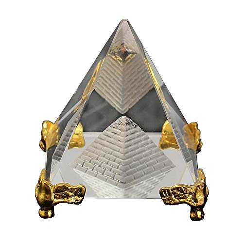 (Divya Mantra Feng Shui Crystal Glass Pyramid with Golden Stand for Spiritual Healing, Vastu Correction and Balancing - 4 cm)