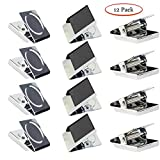 GuangTouL Square Magnetic Metal Clip,Stainless Steel Mini Metal Refrigerator Magnetic Clip for Photo Display,Whiteboard Wall,Magnetic Memo,Note Clip,Metal Clips (12 Piece)
