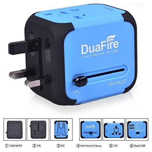 DuaFire Travel Adapter, Universal Power Adapter Plug International Wall Charger with Dual USB Ports and AC Socket for USA EU UK AU CN (Blue)