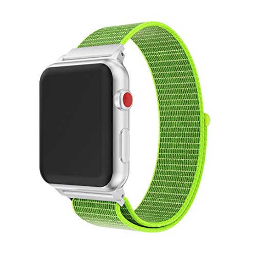 Sport Band for Apple Watch 42mm, Fashion Nylon Milanese Loop Accessories Watch Bands Replacement Strap iWatch Wristbands for Apple Series 3, Series 2, Series 1, Sport, Edition Women Men (Green) (Lime Apple)
