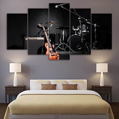 [LARGE] Premium Quality Canvas Printed Wall Art Poster 5 Pieces / 5 Pannel Wall Decor Rock Jazz Music Painting, Home Decor Pictures - With Wooden Frame