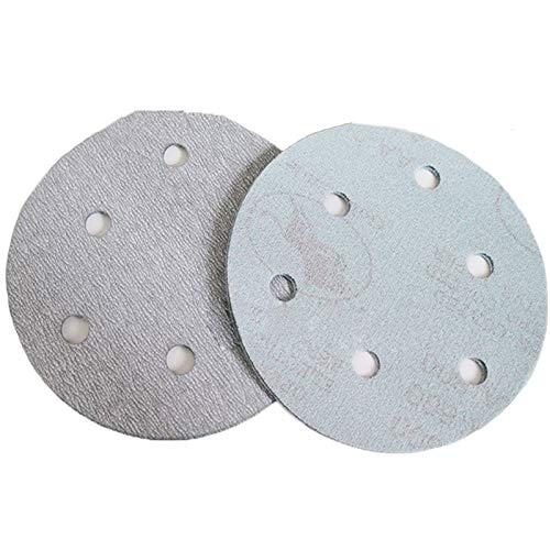 Maslin 100Pcs 5'' 125MM with 6 hole White Sander Sand Paper Sanding Disc Sanding Sheets - (Grit: 60) by Maslin (Image #4)