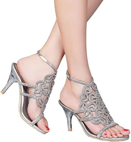 Abby L019 Womens Unique Wedding Bride Bridesmaid Party Show Dress Cone Heel Micro-fiber Sandals