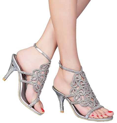 Abby L019 Womens Unique Wedding Bride Bridesmaid Party Show Dress Cone Heel Micro-fiber Sandals Silver 6 M US