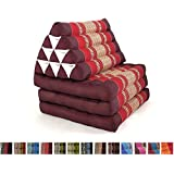 Leewadee Foldout Triangle Thai Cushion, 67x21x3 inches, Kapok Fabric, Red, Premium Double Stitched