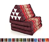Leewadee Foldout Triangle Thai Cushion, 67x21x3 inches, Kapok Fabric, Red, Premium Double Stitched