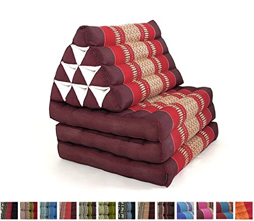 Leewadee Foldout Triangle Thai Cushion, 67x21x3 inches, Kapok Fabric, Red, Premium Double Stitched by Leewadee
