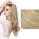extensiones de cabello natural - SARLA Synthetic Hairpieces Flip in Women Hair Extensions Natural Wave Invisible Halo Hair Extensions M01 (16H613 Dirty Blonde)