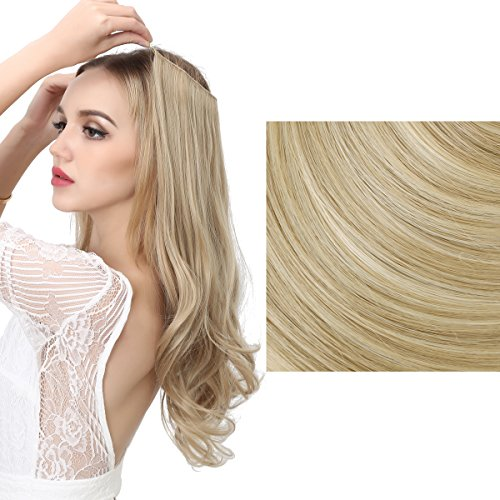 SARLA Synthetic Hairpieces Flip in Women Hair Extensions Natural Wave Invisible Halo Hair Extensions M01 (16H613 Dirty Blonde)